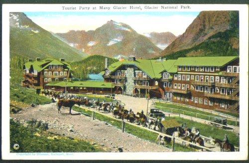 Tourist Party Glacier Hotel Glacier Park MT postcard 1920s]()