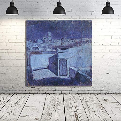 ZDanYA Pablo Picasso Techos de epoca azul de Barcelona HD Arte de la pared Lienzos Carteles Impresiones Pintura al oleo Cuadros de la pared para el dormitorio Decoracion del hogar 60cm x60cm Sin marco