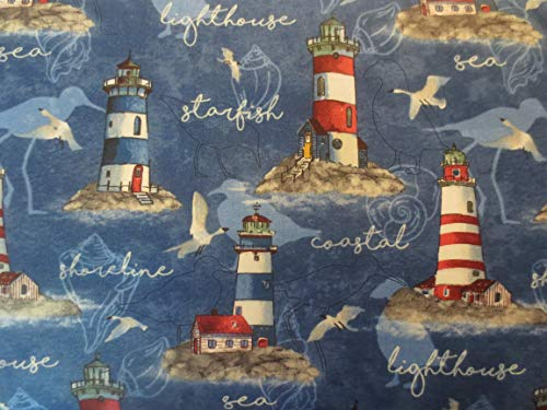 Northcott Atlantic Shore Lighthouses On Dark Blue Cotton Fabric 22607-44