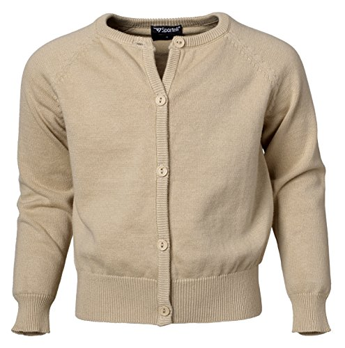 Sportoli Girls Button Down Long Sleeve 100% Cotton Knit Classic Uniform Cardigan Sweater Top with Ribbed Hem for Junior Women, Girls, Baby and Toddlers - Stone Beige (Size 4) (Ann Taylor Silk Sweater)