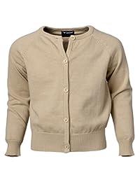 Sportoli Girls Women's Long Sleeve 100% Cotton Classic Uniform Cardigan Sweater