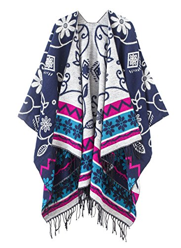 (Women's Fashionable Retro Style Vintage Pattern Tassel Poncho Shawl Cape (Series1-Navy blue))