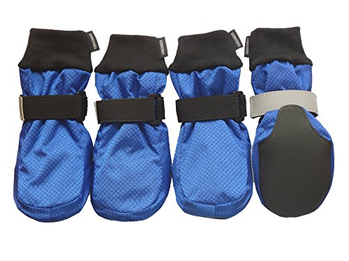 LONSUNEER Winter Paw Protector Dog Boots Waterproof Soft Sole and Nonslip Set of 4 Color Blue Size XL (Great Boots Winter Dane)