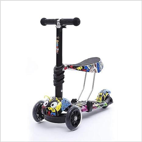 Patineta De 3 Ruedas para Niños con Luz LED Freestyle Mini Scooter,Graffiti (2-6 Años, Máxima Carga:50 Kg) + Set Protección(Manillar De Altura Ajustable) ...