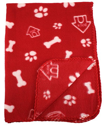 Fleece Blanket - Bone and Paw Print Assorted Color Pet Blankets by bogo Brands (Red) (Paw Prints Pet Kennels)