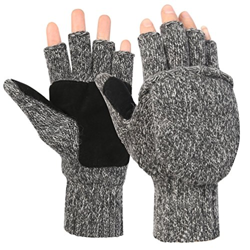 Novawo+Unisex+Wool+Blend+Crochet+Convertible+Fingerless+Gloves+with+Mitten+Cover+%28Gray2%29