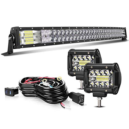 TURBOSII Led Light Bar 40/42Inch Curved 5D Offroad Led Work Light Bar Spot Flood Combo + 2Pc 4Inch Led Pods Fog Lights + Wiring For Jeep Truck SUV Polaris Rzr Golf Cart Chevy Ford 12-24V