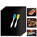 Raking Grill Mat, BBQ Grill Mat Baking Mat - Five Year Warranty, Nonstick FDA Approved, Reusable Easy to Clean - Set Five(black)