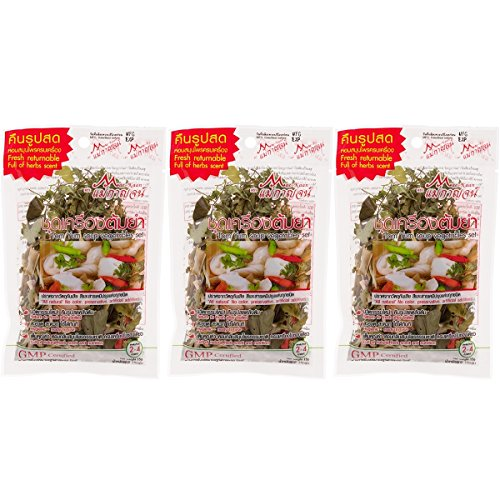 Dried Tom Yum Soup Mix Vegetable Set Full of Natural Herbs Cooking Thai Food 15 g (3 sets / 1 pack)