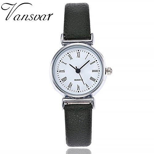 (MOSE Watches For Women, Women's Watch Fashion vansvarCasual Quartz Leather Band New Strap Belt Watch Analog Round Wrist Watch New Hot (Black)