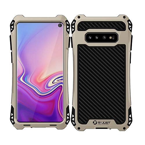 Galaxy S10 Case,Bpowe Military Sturdy Shockproof Proof Carbon Fiber Zinc Magnesium Alloy Metal Heavy Duty Armor Protection Case Cover for Samsung Galaxy S10 2019 (Black/Gold)