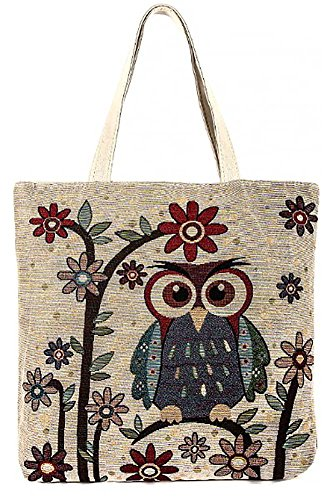 Colorful Floral Owl Design Oversize Canvas Tote Bag Purse