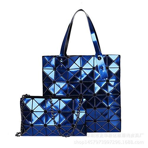 WLFHM Nuevo Lingge Costura Bolsa De Láser Bolso De Hombro (dos Piezas) Bolso Blue