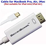 1.8m - Apple Mini DisplayPort DP to HDMI , DP to HDMI,Cable for MacBook to TV,Macbook to TV HDMI Cable,HDMI Cable for Apple iMac,MacBook Pro HD,MacBook Pro,Monitor Projector,HDMI cable for Macbook to TV,LCD,AppleMac MacBook MacBookPro MacBook Air to TV Cable,Lead - (Supports THUNDERBOLT port, VIDEO Adapter lead for Apple iMac- MacBook - Pro - Air & PC with Mini DP etc.)**Supports Audio** HD LCD LED, 1.8m / 6f by BeckenBower®