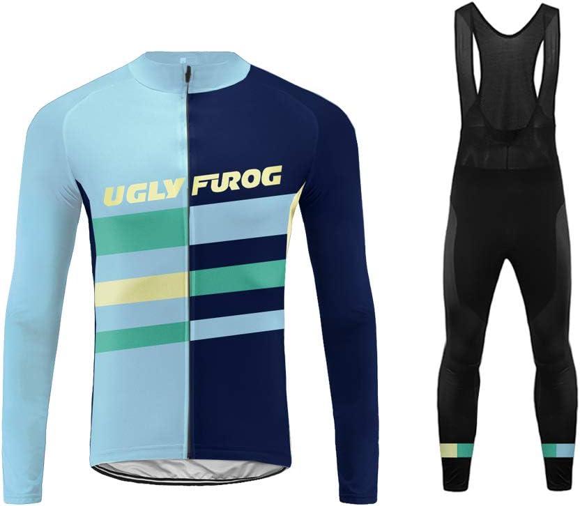 Uglyfrog Hombres Ciclismo Jersey Team Ciclismo Ropa Manga Larga Pantalones Kit Camisa de Secado Rápido Ropa al Aire Libre de la Bicicleta CXMX13F