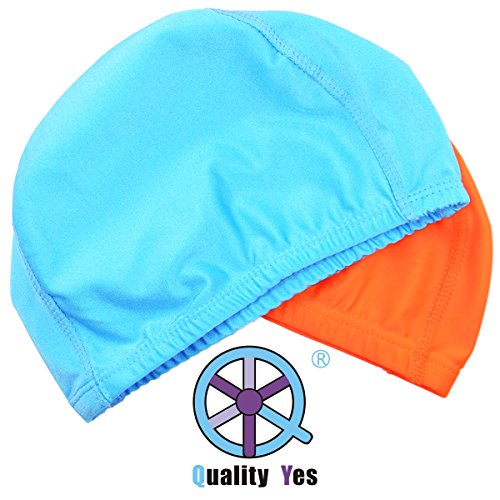 - QY 2Pack Superior Polyester Cloth Fabric Bathing Cap Swimming Caps Swimming Hats for Water Sports, Orange Color and Sky Blue