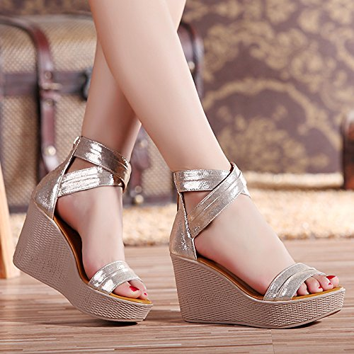 YMFIE Sandalias de cuña de Cuero Sexy de Moda de Verano Zapatos de Playa Antideslizantes al Aire Libre de Moda Casual Gold