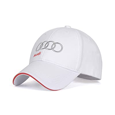 Wall Stickz BearFire Logo Embroidered White Color Adjustable Baseball Caps for Men and Women Hat Travel Cap Racing Motor Hat (fit Audi with Letter): Automotive