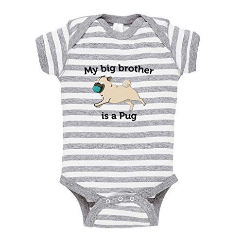 Cute Rascals My Brother is A Pug Baby Kid Stripe Fine Jersey Bodysuit Grey 6 (Baby Pug)
