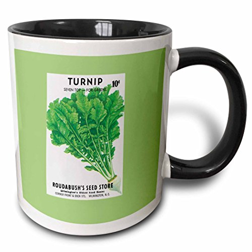 (3dRose BLN Vintage Seed Packet Reproductions - Turnip Seven Top for Greens Vegetable Seed Packet Reproduction - 15oz Two-Tone Black Mug (mug_170950_9))