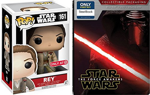 Star Wars Steelbook Blu Ray The Force Awakens Exclusive set with Funko Rey Pop Figure
