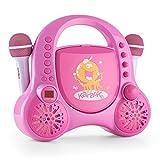 auna Rockpocket • Children's karaoke machine • Karaoke player • Karaoke set • 2 x dynamic microphone • CD player • Stereo speakers • Programmable • Repeat function • Echo effect • Pink