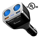 12 volt cigarette lighter heater - Quick Charge 3.0 Car Charger, CHGeek 80W 12V/24V Cigarette Lighter Splitter+QC3.0 3A+Smart 2.4A Dual USB Port Car Power Adapter for IOS Android GPS Dash Cam DVD Player CH08