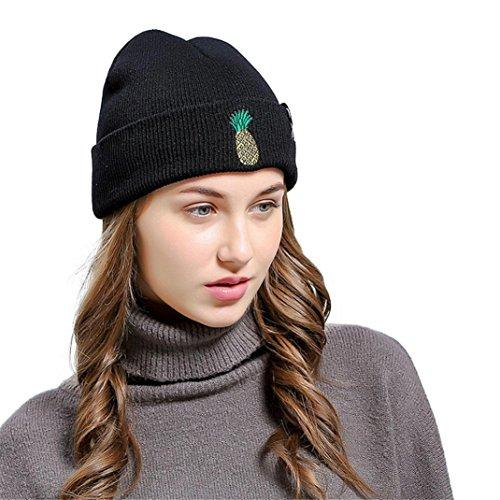 RNTOP Pineapple Embroidered Men Women Baggy Wool Knit Ski Beanie Hat (Black)