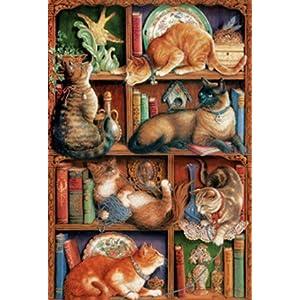 Cobblehill 50710 2000 Pc Puzzle Feline Libreria Vari