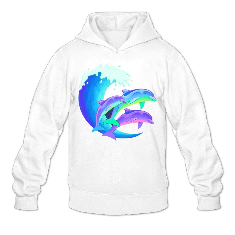 Kkajjhd Psychedelic Dolphins Sweatshirt Autumn Winter Mens Long Sleeve Pullovers