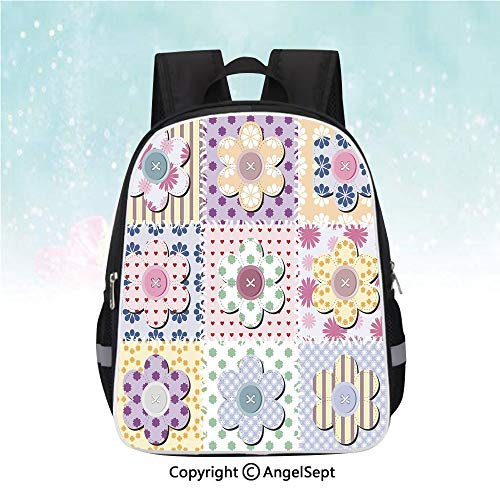 Casual Backpack,Arts and Crafts Theme Handiwork Quilting Stitches Daisy Motifs Sew Image Print Decorative,13
