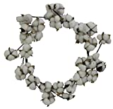 Admired By Nature ABN5W002-NTRL Faux Cotton Balls Front Door and Wall Wreath, White