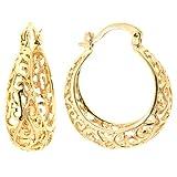 Silver on the Web 24K Gold Plated Filigree Hoop Earrings, (1.05'' Diameter)