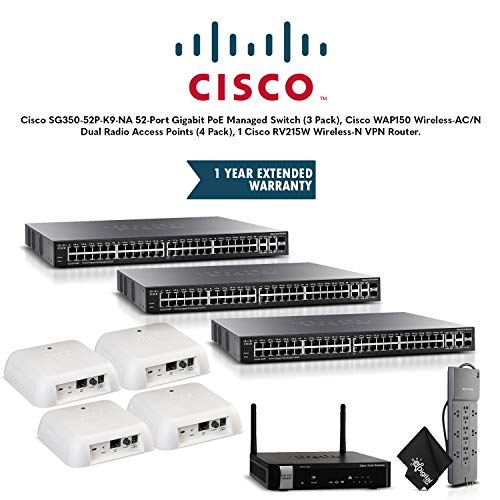 Cisco SG350-52P-K9-NA 52-Port Gigabit PoE Managed Switch (3 Pack), Cisco WAP150 Wireless-AC/N Dual Radio Access Points (4 Pack), 1 Cisco RV215W Wireless-N VPN Router, Extended Warranty and More (A-k9 Na Rv215w)