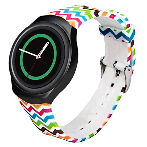 Wave Silicone (GBSELL Luxury Colorful Wave Grid TPU Silicone Watch Band Strap For Samsung Galaxy Gear S2 SM-R720)