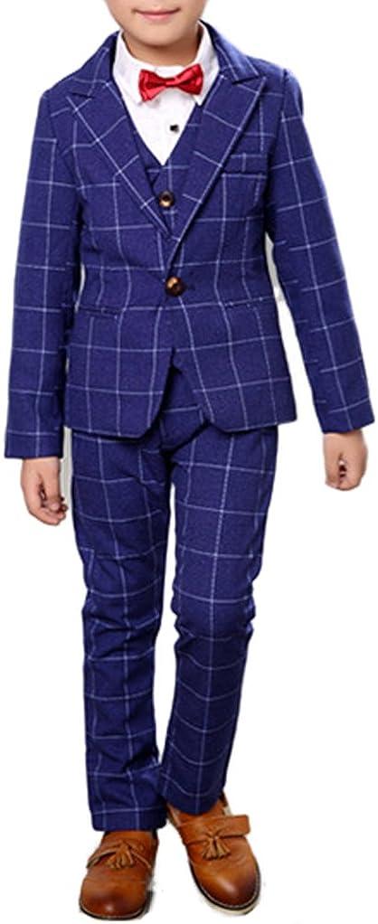 Boys Plaid Gray Blue Red Suit Set with Grid 3 Pieces Jacket Vest Pants Set