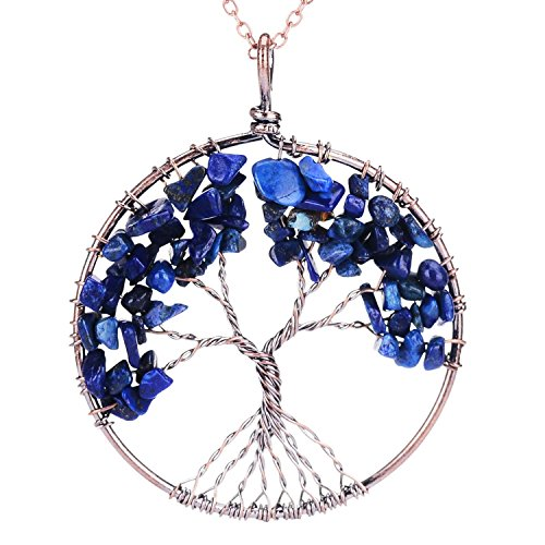 QILMILY Tree of Life Pendant Necklace Wire Wrapped Pendant Lapis Lazuli Crystal Necklace Birthstone Jewelry ()