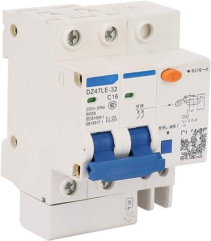 230V//16A Protection contre les fuites DZ47LE-32 2P 2 C16 Disjoncteur de courant r/ésiduel 230V//16A