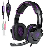 SADES SA930 Gaming Headset for PS4 PC Laptop Mac Tablet Smartphone iPad iPod iPhone, Stereo Headphone with Microphone by Afunta - Black + Purple