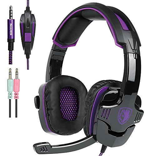 New Xbox one PS4 Gaming Headset with Mic Volume Control, SADES SA930 Stereo Headphone Compatible Mac PC Laptop Tablet Smartphone by AFUNTA-Black/Purple