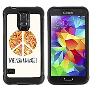 Hybrid Anti-Shock Defend Case for Samsung Galaxy S5 / Cool Pizza Piece