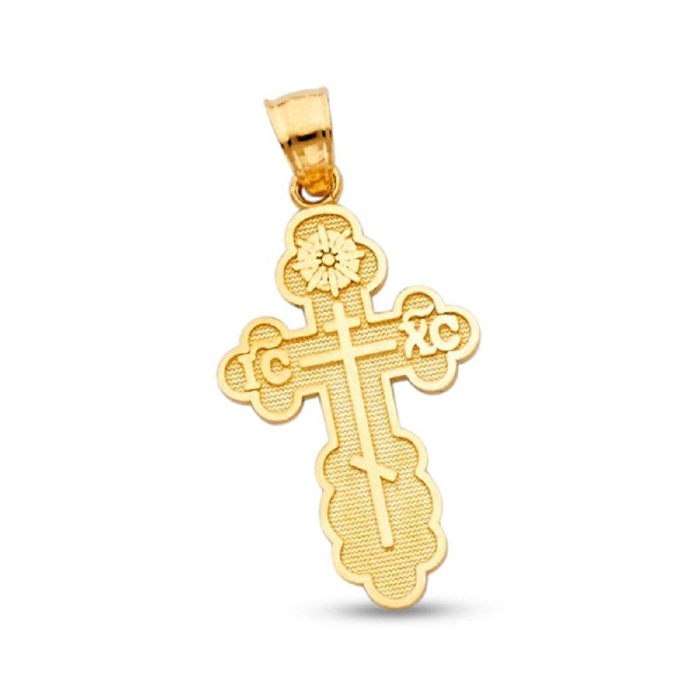 ICXC Baptismal Cross Crucifix Pendant Solid 14k Yellow Gold St. Olga Greek Charm Genuine 26 x 18 mm GemApex 6212457