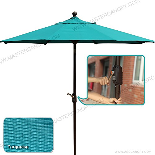 MASTERCANOPY 9' Outdoor Aluminum Patio Table Umbrella with Auto Tilt and Crank, 8 Ribs, Polyester (Turquoise) by MASTERCANOPY