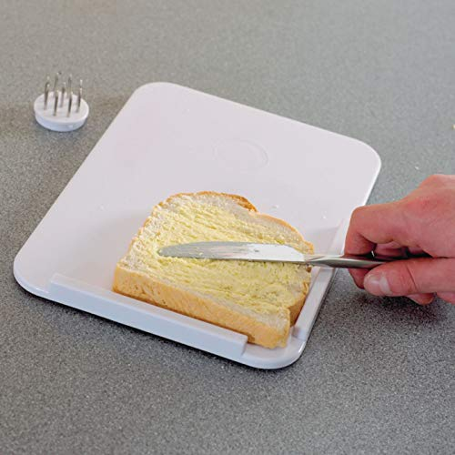 Homecraft Plastic Spread Board with Spikes, Food Tray with L Shaped Corner and Optional Stainless Steel Spikes Hold Food in Place While Cutting and Spreading, Kitchen Aid for Limited Use of One Hand