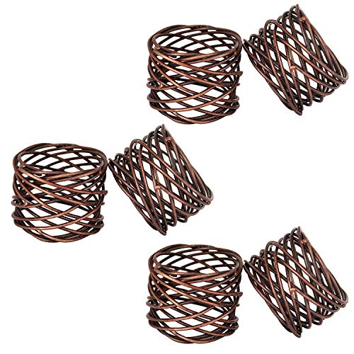 ITOS365 Handmade Copper Antique Round Mesh Napkin Rings Holder for Dinning Table Parties Everyday, Set of 6