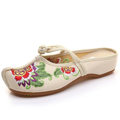 ZLL Gestickte Schuhe, Sehnensohle, ethnischer Stil, weiblicher Flip Flop, Mode, bequeme, lässige Sandalen meters white