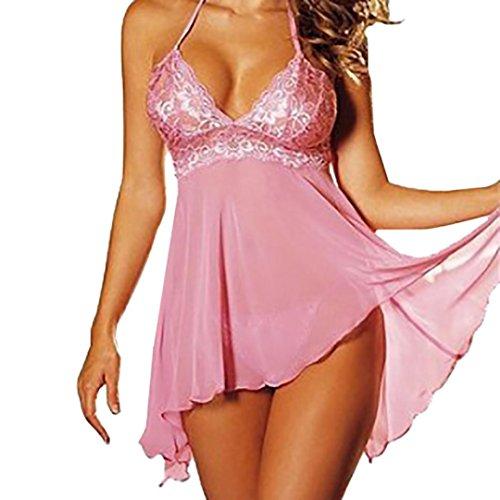 Hot Sale!Women Sleepwear, FeiXiang Women's Lingerie Sleepwear Lace Wire Free G-string Underwear Babydoll Two-Piece Lingerie Sets Nightwear (XL, Pink)