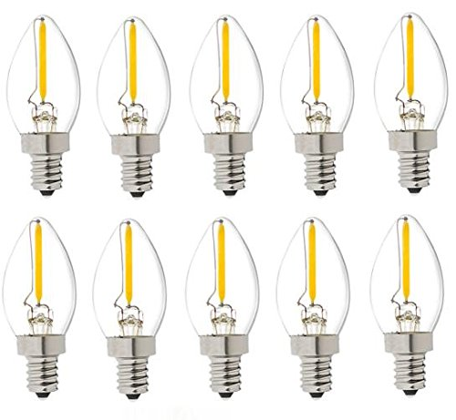 Best to Buy (10-PACK) LED Filament E12 C7 1W Night Light Bulb, Equivalent To 10w Incandescent, Warm White 2700K 80 Lumens, Candelabra Base, 360° Beam Angle