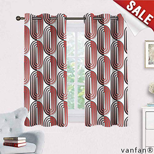 Big datastore Modern Art Curtain Blackout Liner,Ellipse Curves Surrounded Focal Points Mathematical Education Modern Motif Thermal Insulated Blackout,Vermilion White W72 x L63