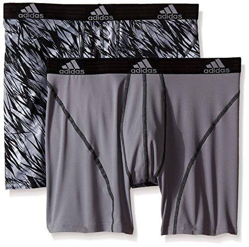 adidas Men's Sport Performance Climalite Boxer Brief Underwear , Black Draven/Grey/Black, X-Large/Waist Size 40-42